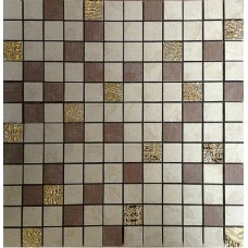 SIENA HOJAS Mosaico Beige-Chocolate-Gold