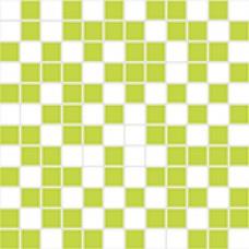 ORGANZA Mosaico Blanco- Pistacho