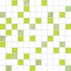 ORGANZA Mosaico Diamante-Blanco-Pistacho